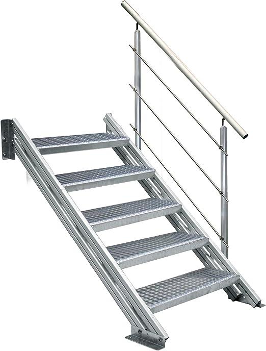 Treba COLORADO - Escalera de aluminio para exteriores (6 peldaños de rejas, 800 mm de ancho): Amazon.es: Bricolaje y herramientas