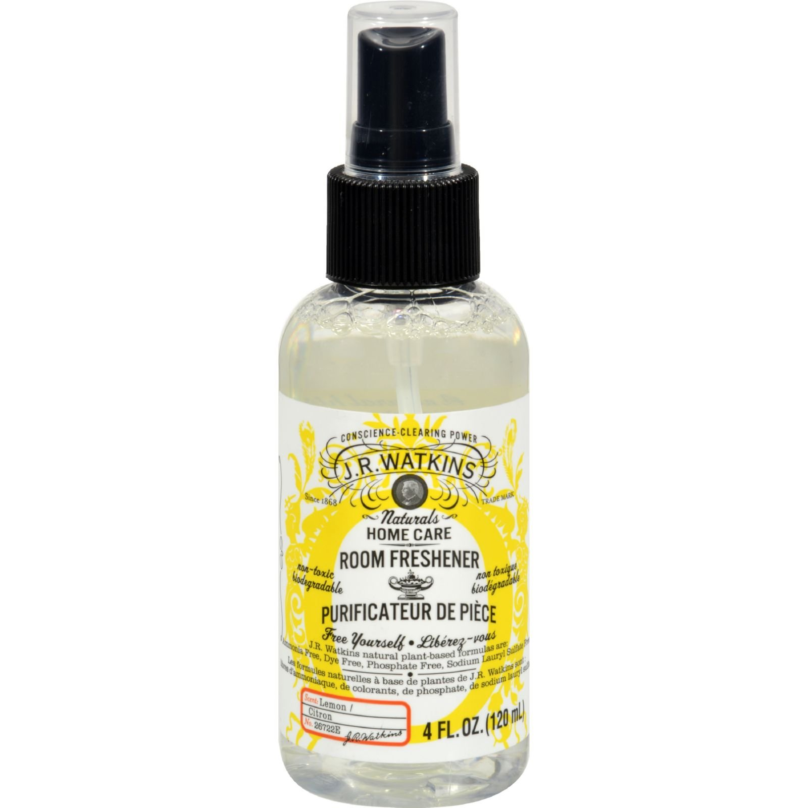 J.R. Watkins Room Freshener Lemon - Non Toxic - Biodegradable - Long lasting - 4 oz (Pack of 4)