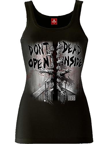 Camiseta de tirantes de chica de Walking Dead corte ceñido color negro de algodón
