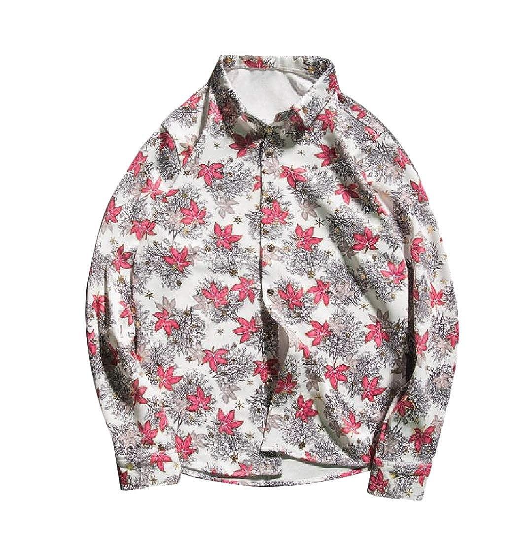 cheelot Mens Printing Thick Tops Plus Size Long Sleeve Leisure Dress Shirt