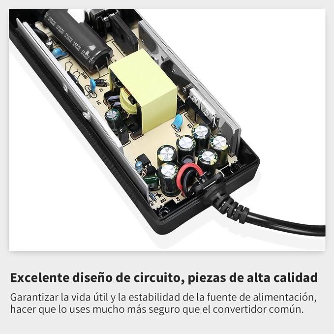 Amazon.es: LOETAD 120W Convertidor de Corriente CA a CC Fuente de Alimentación Adaptador de 220V a 12V Encendidor de Cigarrillo de Coche 12V/10A [Versión ...