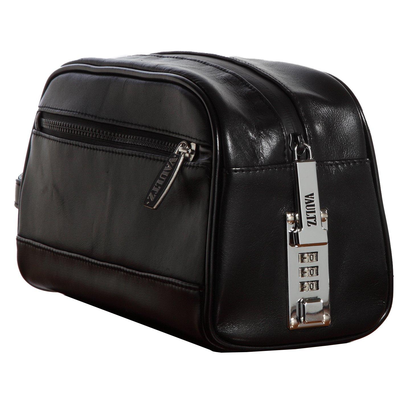 Vaultz Locking Leather Travel Kit, 5.75 x 5 x 10 Inches, Black (VZ03510)