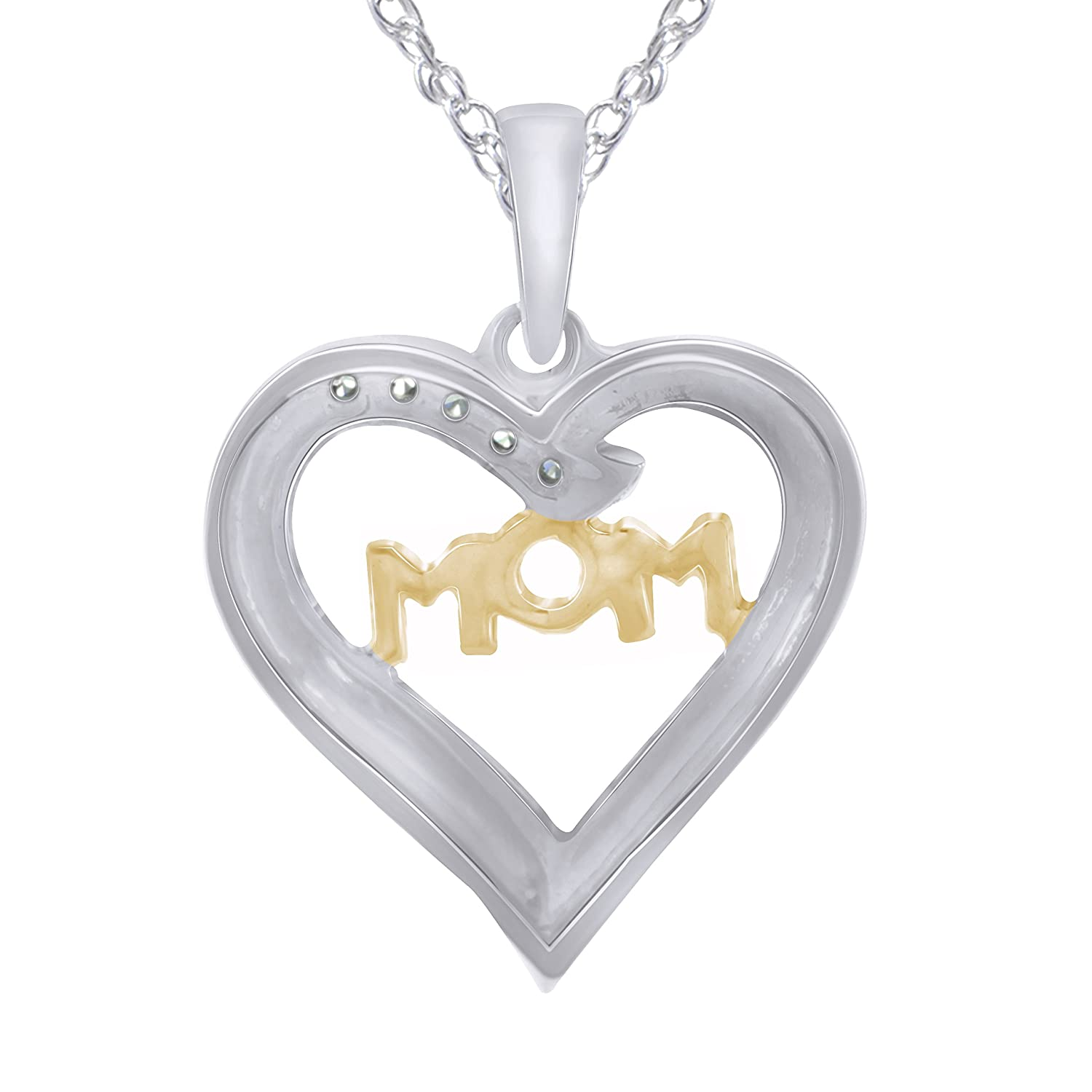 Pretty Jewels MOM in Heart 0.08 Carat Diamond Heart Necklace in 925 Sterling Silver 18 Rope Chain I1-I2 Yellow-Plated