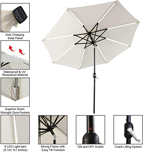 ABCCANOPY Patio Umbrella Solar Powered Outdoor Umbrella