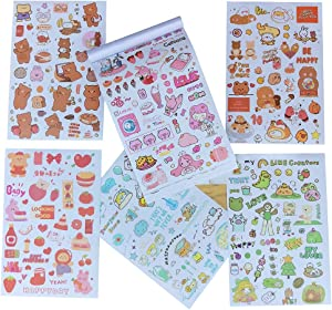Kawaii Washi Stiker Set 50 Sheets Cute Animal Fruit Food Decorative Adhesive Stickers for Scrapbooking Personal Journal Planner Art Project DIY Crafts Photo Frame