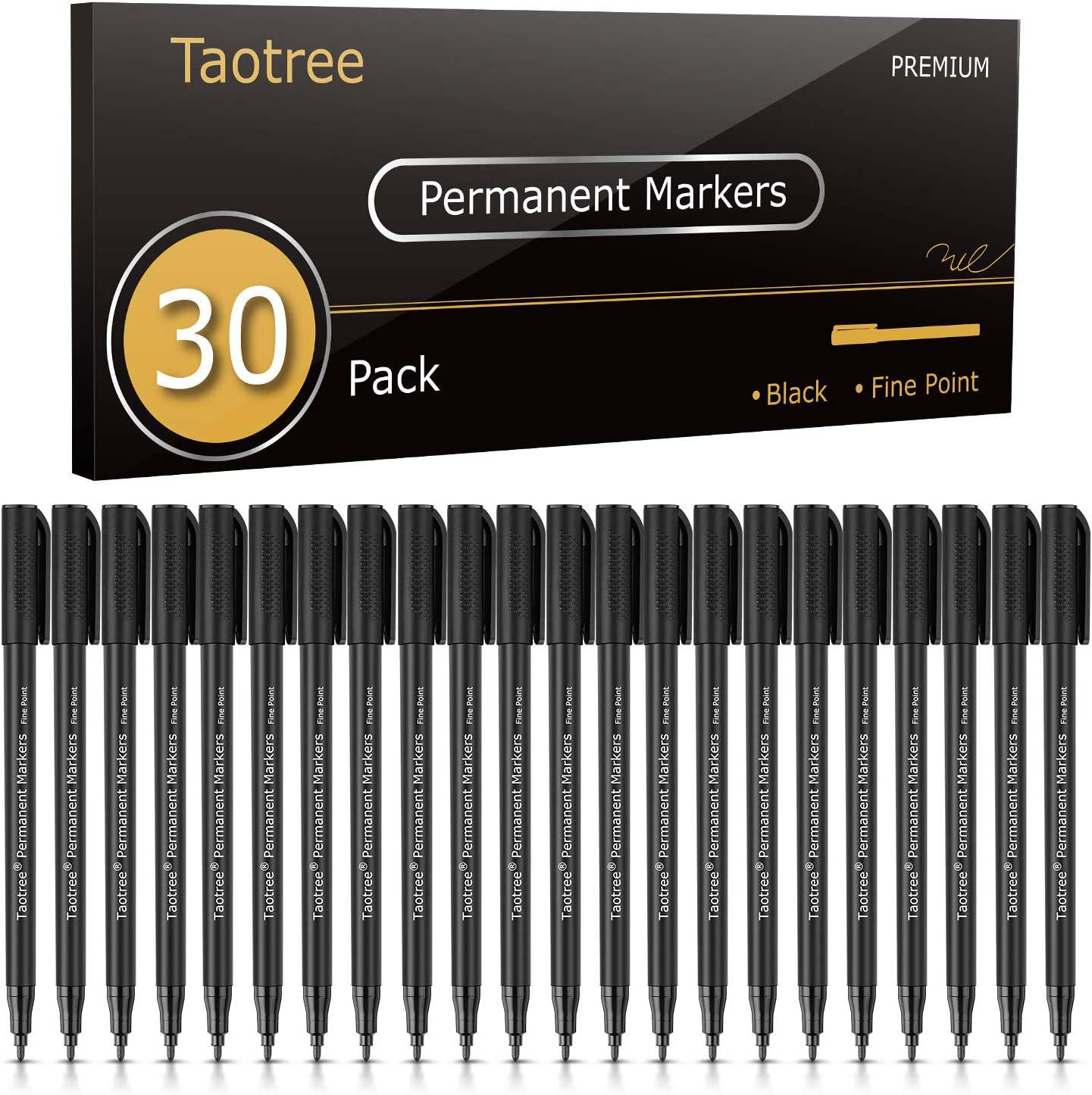 Permanent Markers, Taotree 30 Pack Black Permanent Marker Pens set, Fine Point, for Writing Doodling Marking, Works on most surfaces: Paper, Plastic, Wood, Metal, Great for Art Crafts Scrapbooks