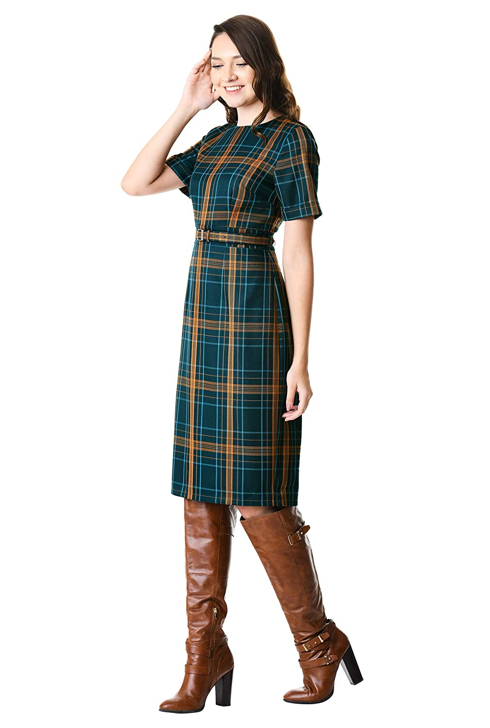1950s Dresses, 50s Dresses | 1950s Style Dresses eShakti Womens Plaid Suiting Belted Sheath Dress $99.95 AT vintagedancer.com
