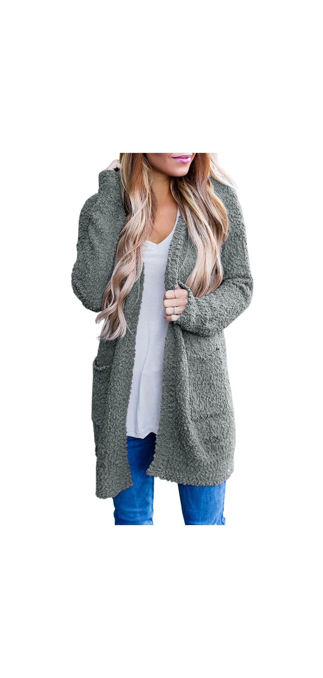 Women's Long Sleeve Soft Chunky Knit Sweater Open With