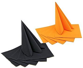 12 Stück 66 Servietten Set Orange Schwarz Zum Falten