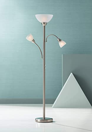 Alexei Modern Torchiere Lamp Adjustable Arm 3 Light Brushed Steel