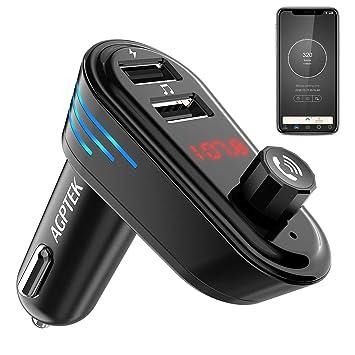 AGPTEK Transmetteur FM Bluetooth Adaptateur Autoradio Kit Voiture  Main-Libre, Chargeur Allume Cigare Double Port USB 5V/2.1A et Port Audio  3,5mm, ...