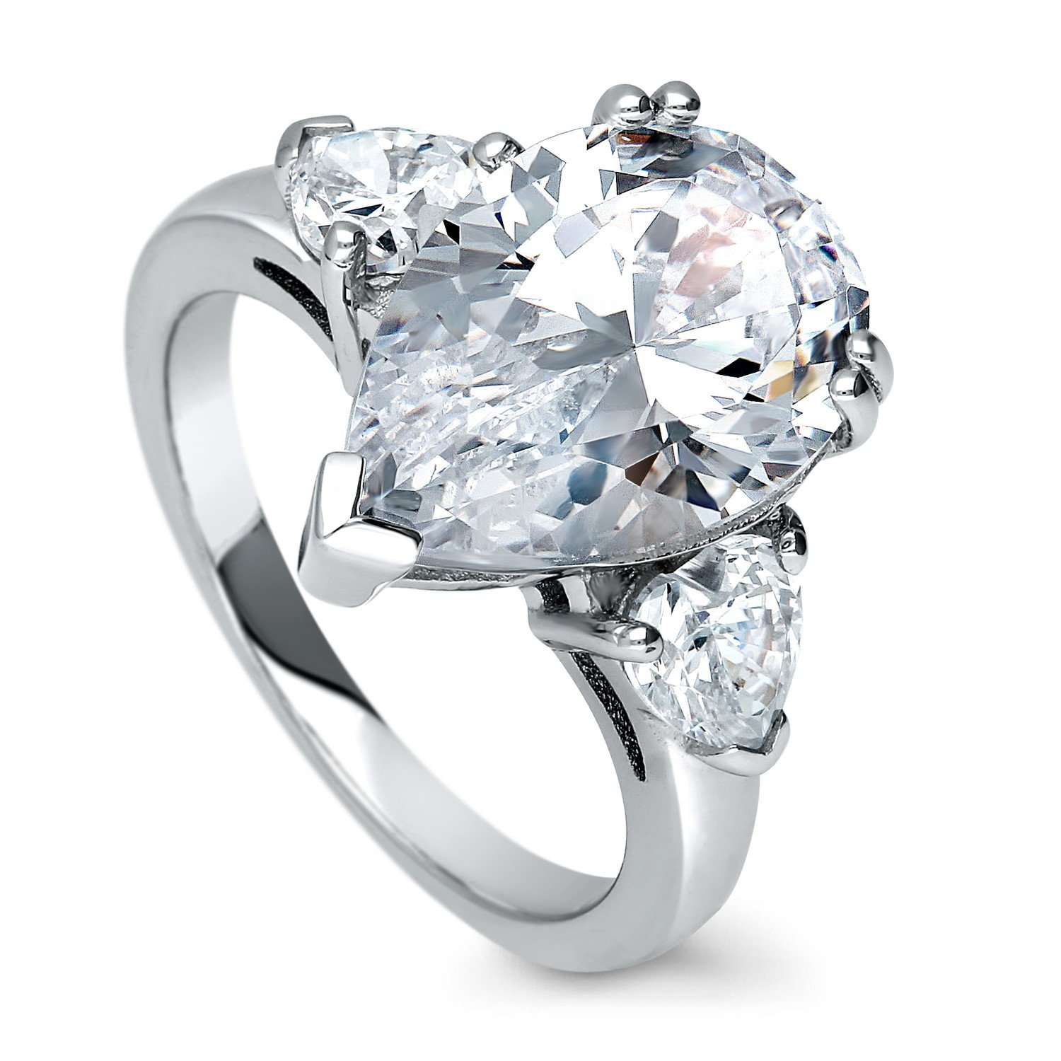 4f8cc00f580fb BERRICLE Rhodium Plated Sterling Silver Pear Cut Cubic Zirconia CZ  Statement 3-Stone Anniversary Engagement Ring 6.63 CTW