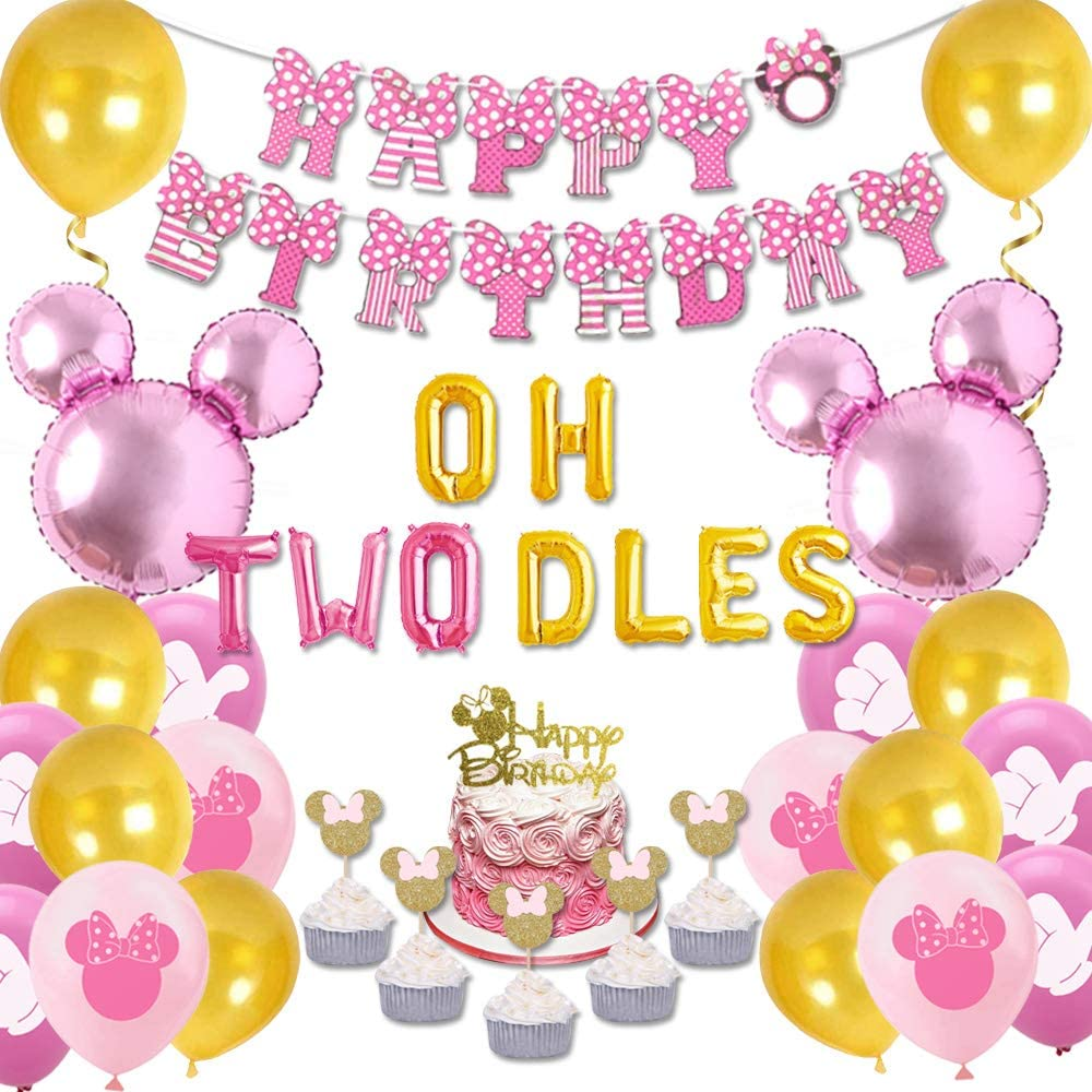 Minnie Themed 2nd Birthday Decorations Oh Twodles Birthday Party Supplies Pink and Gold Balloon Banner Cupcake Toppers