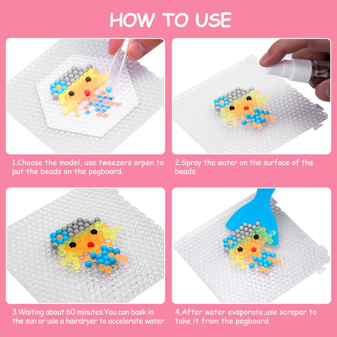 GARUNK Fuse Beads Refill, 24 Colors Water Spray Craft Beads Set Compatible Aquabeads Beados Art Crafts Toys Kids Beginners 3200 Classic Jewel Beads DIY Pegboard Kits by GARUNK (Image #3)