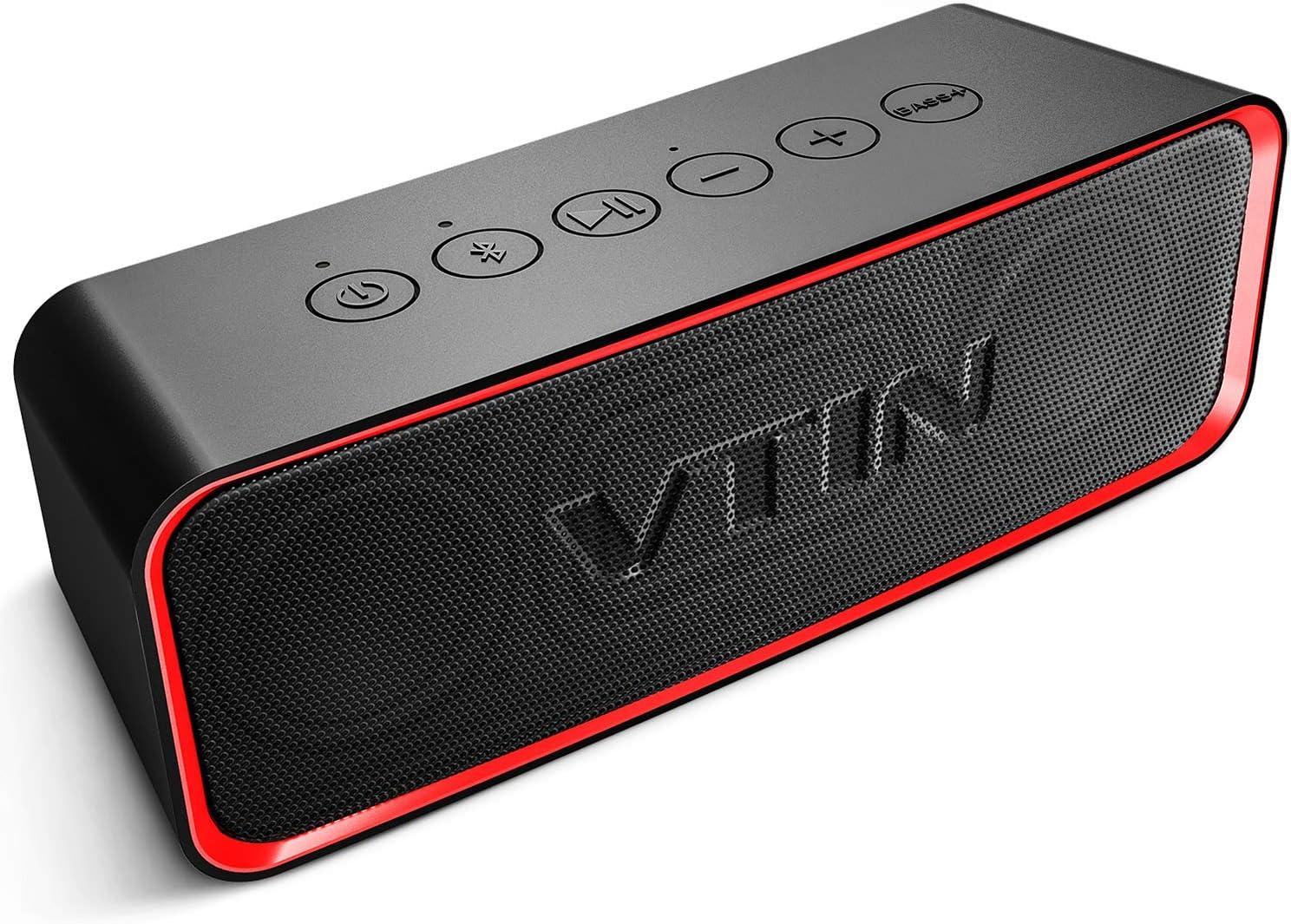 vtin VicTsing Actualizar Altavoz Bluetooth portátil, 24 Horas de duración de la batería y 14W de Potencia, IPX6 a Prueba de Agua, Bass + Exclusivo, Adecuado para Interiores y Exteriores.