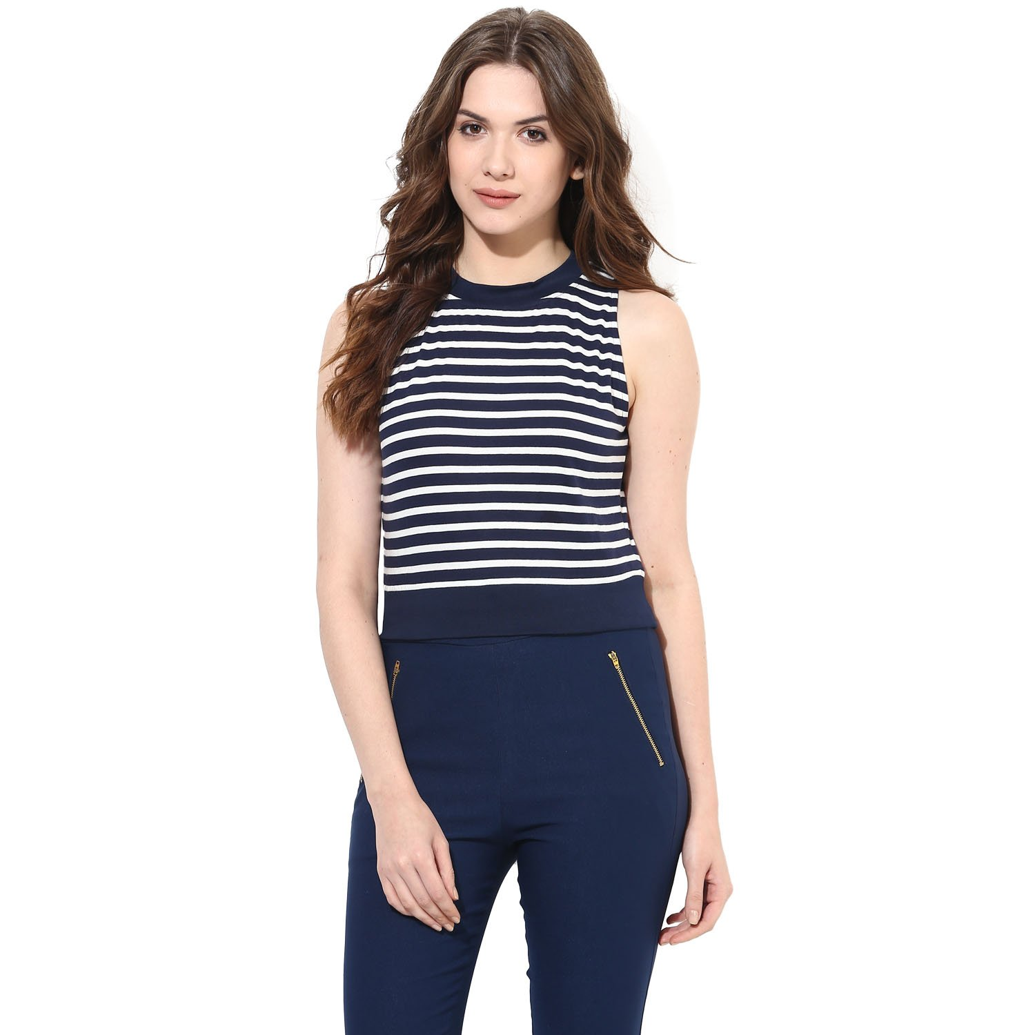 d1e547e97 Miss Chase Women's Navy Blue Striped Cotton Round Neck Sleeveless Crop Top  at Amazon Women's Clothing store: