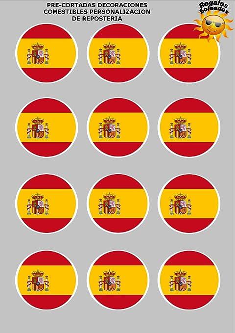 12 x Precortada Banderas Españolas España Decoración Comestible Personalizacion de Reposteria: Amazon.es: Hogar