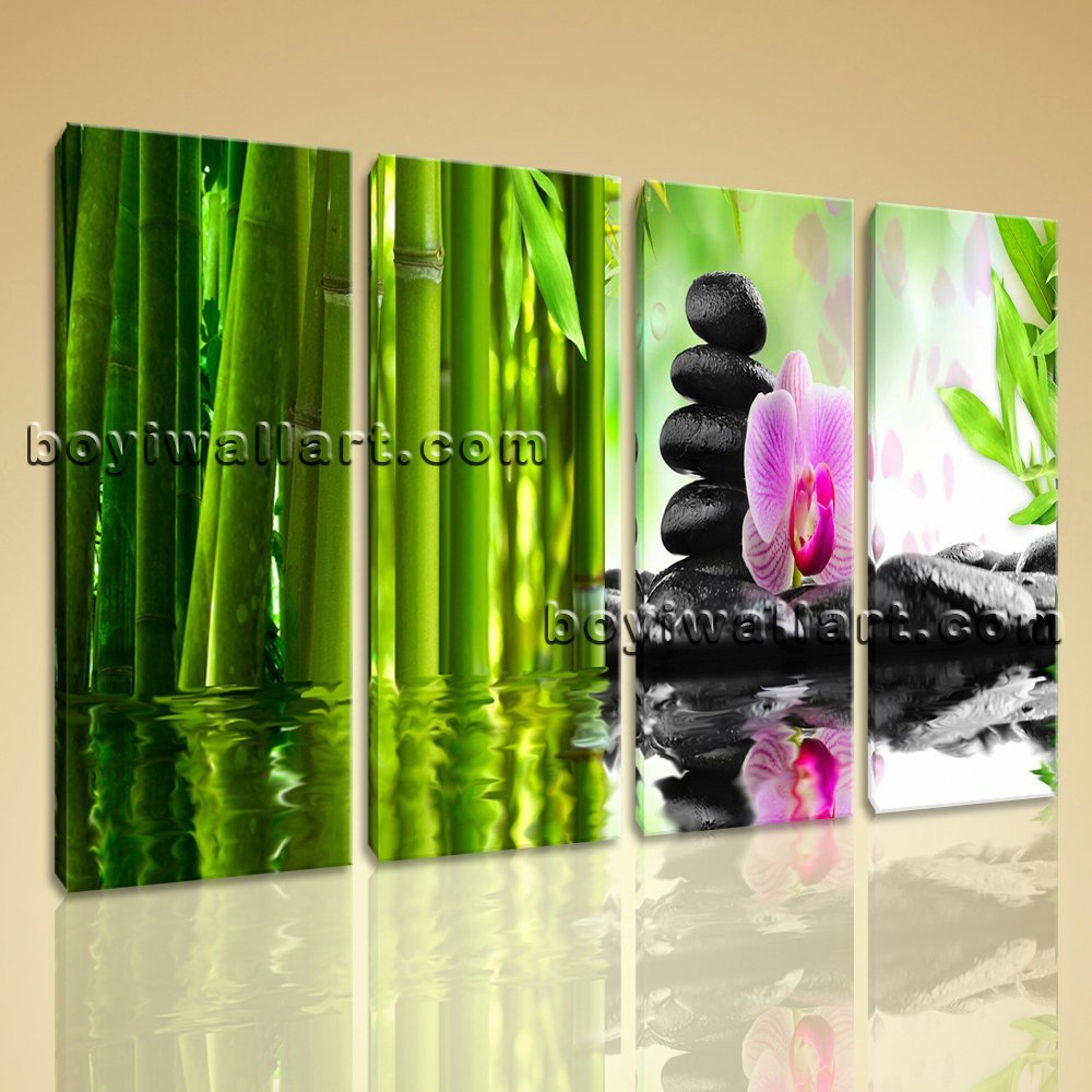 Large Relaxing Spa Feng Shui Floral Picture Modern Home Decor Canvas Print, Large floral Wall Art, Living Room, Sapphire