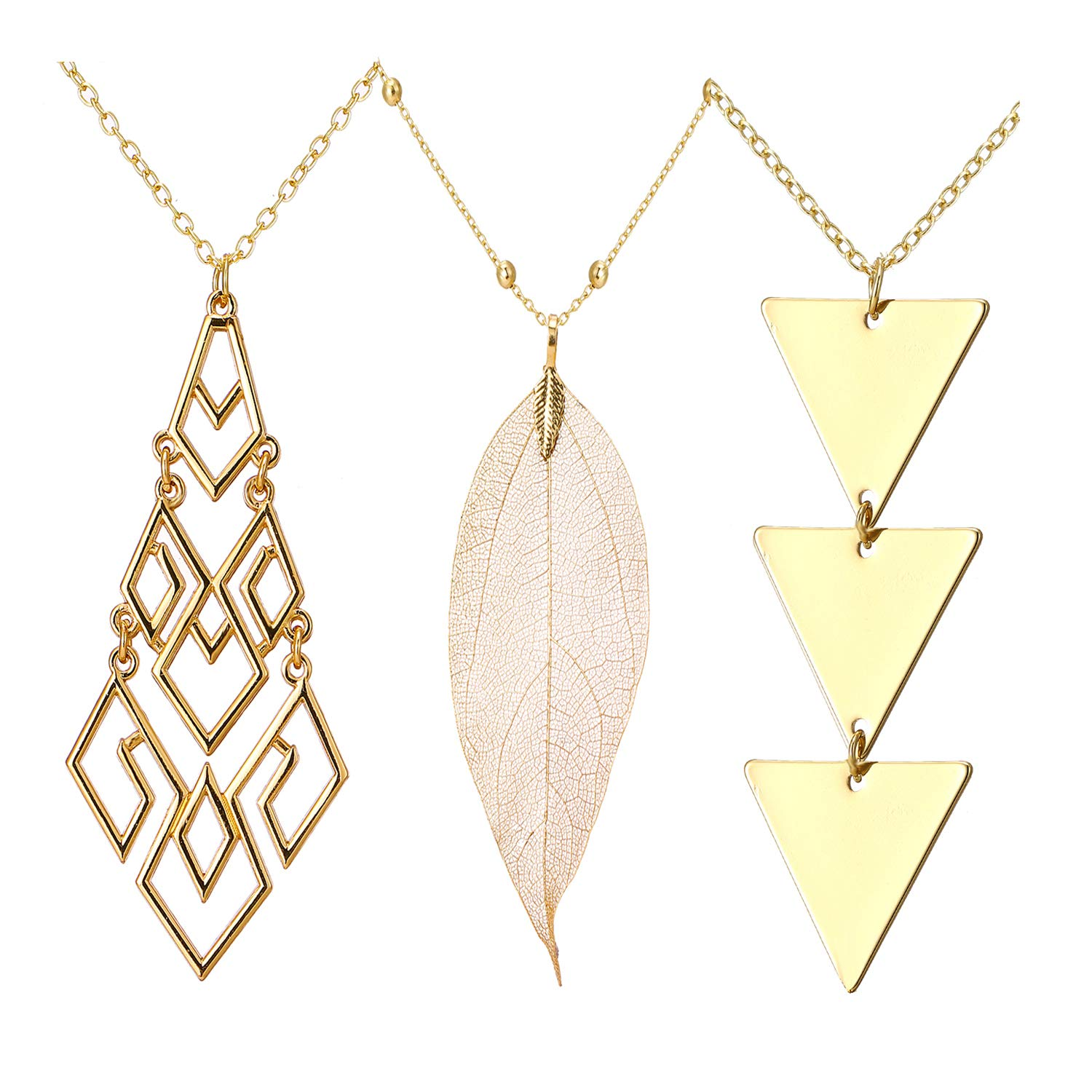 4Pcs Gold Long Necklaces for Women Silver Geometric Y Necklace Dainty Jewelry Set (A) by J Meng