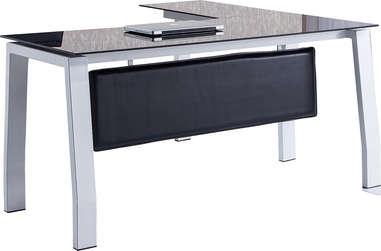 Mesa escritorio en L de 150cm con cristal negro para oficina o ...