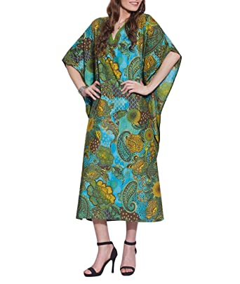 f4751a8800 Long Evening Dress Free Size Tunic Casual Cotton Kaftan Comfortable Airy  Printed For Women Indian