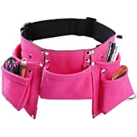 Monocho Kids Tool Belt with 7 Pockets, Suede Leather Adjustable Children's Tool Pouch Bag Apron for Heavy Garden Projects Construction Pretend Play, Waist Size for Ages 2-14 Children(Pink)