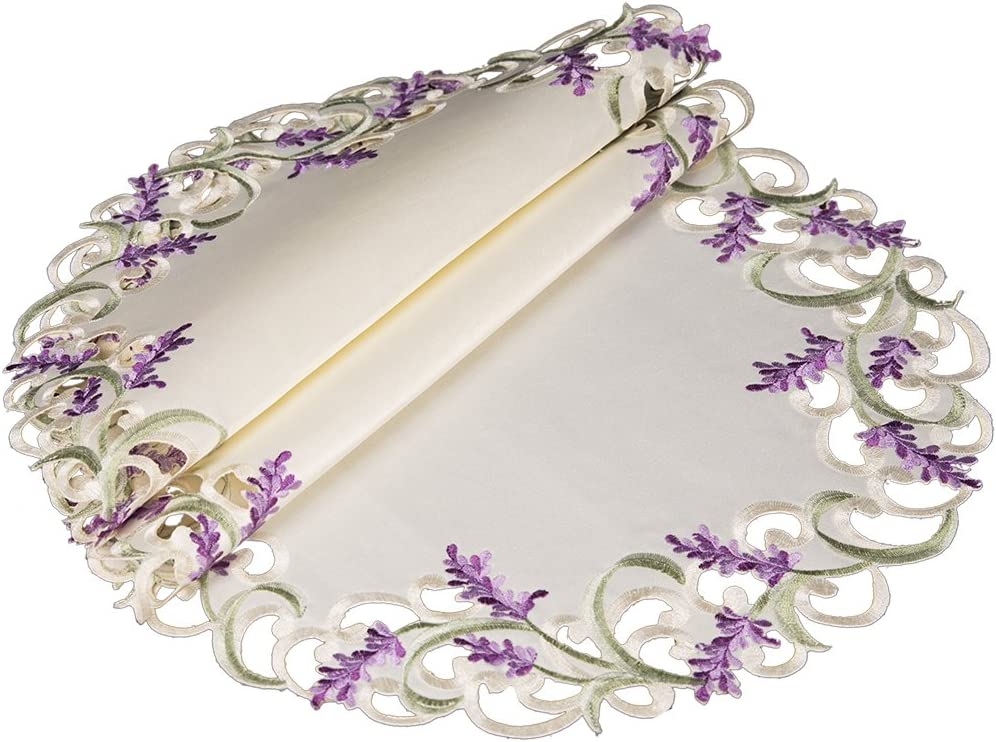 Xia Home Fashions XD17107 Lavender Lace Embroidered Cutwork Round Placemats, 15-Inch, Ivory, 4 Piece
