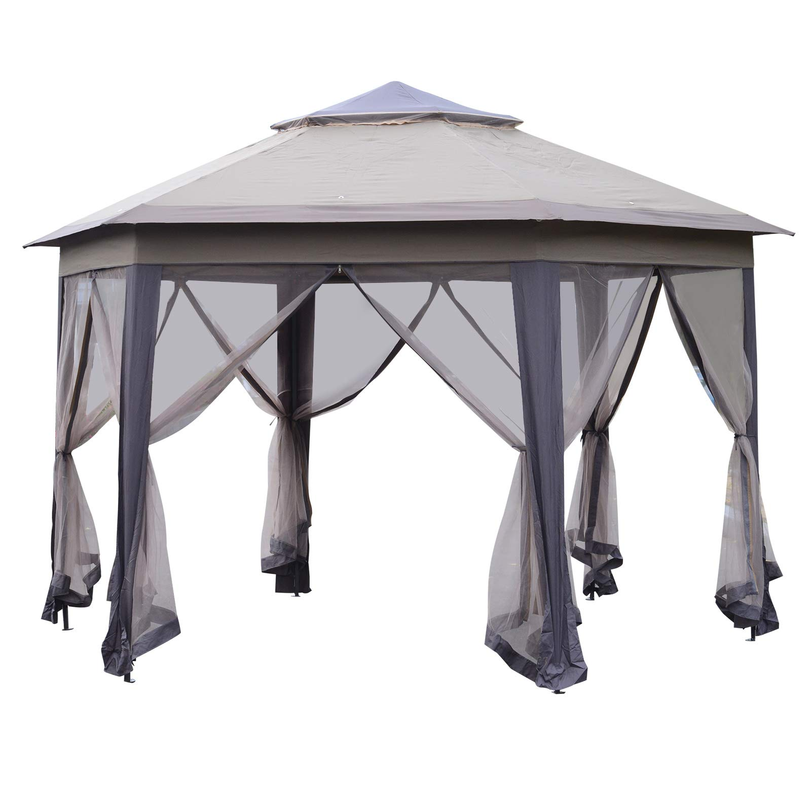 Outsunny 12' Steel Fabric Hexagonal Pop Up Patio Gazebo with Mesh Sidewalls - Coffee and Beige