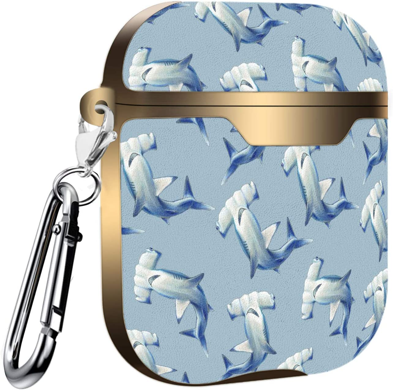 Hammerhead Shark Slim Form Fitted Printing Pattern Cover Case with Carabiner Compatible with Airpods 1 and AirPods 2