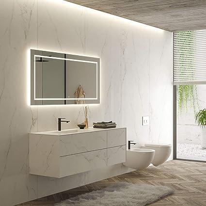 Mobili Moderni Da Bagno.Mobile Bagno Moderno Con Lavabo Sospeso Gres Porcellanato Calacatta Bianco Lucido Amazon It Casa E Cucina