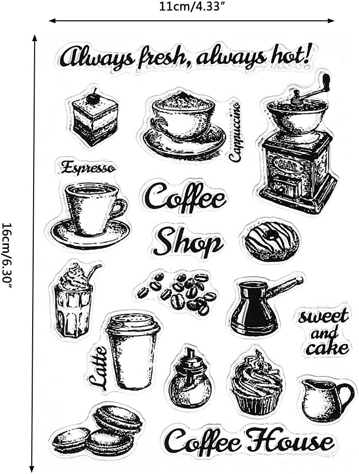 Feamos Clear Stamps Coffee Home Silicone Stamp for Cards Making DIY Scrapbooking Album Cling Seal Craft Decor Gift