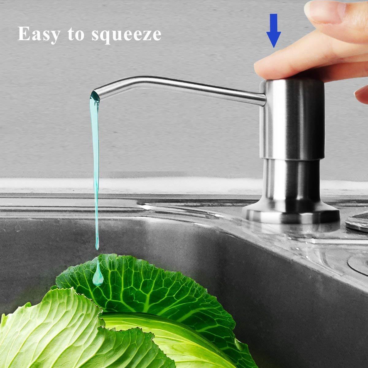 Dispensador de Jabón Manos para Cocina /Fregadero /encimera Ahorra Espacio Dosificador Jabon Cocina de Acero Inoxidable Botella de Plástico 500ML