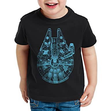 5887b3ee style3 Millennium Falcon Top View T-Shirt for Kids Starship Blue ...