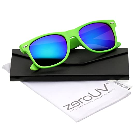 3df414d7047 Retro Large Square Colored Mirror Lens Horn Rimmed Sunglasses 55mm  (Green Green-Blue