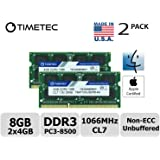 Timetec Hynix IC Apple 8GB Kit (2x4GB) DDR3 PC3-8500 1066MHz memory upgrade for iMac 21.5 inch/27 inch/20 inch/24 inch, MacBook Pro 13 inch/ 15 inch/ 17 inch, Mac mini 2009 2010 (8GB Kit (2x4GB))