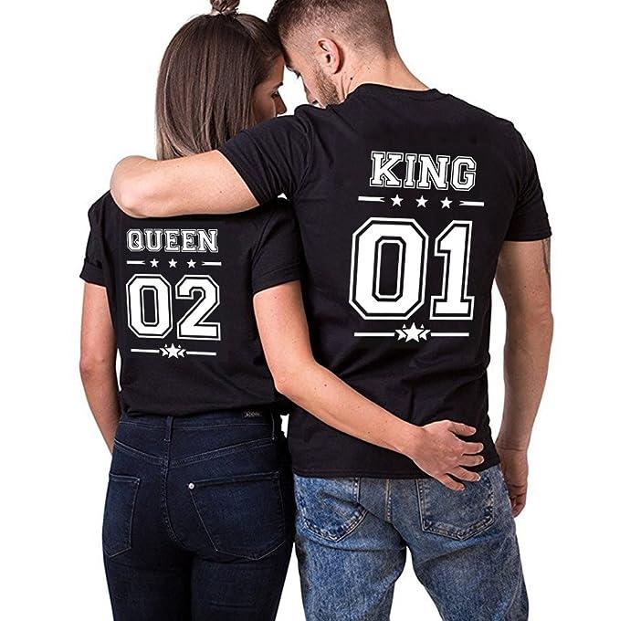 Pareja Camisetas King Shirts de Manga Corta T-Shirt 100% Algodón Impresión 01 2 Piezas Rey Reina Regalo de San Jorge Camisa Casual para Mujer: Amazon.es: ...
