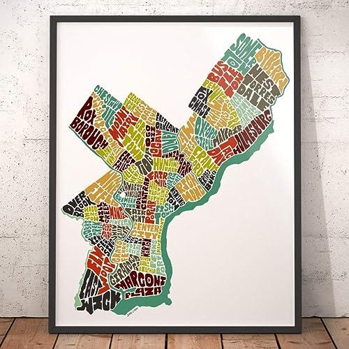 Amazon philadelphia map art print typography map art city map philadelphia map art print typography map art city map wall dcor featuring neighborhood freerunsca Gallery
