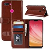 XIAOMI MI 8 LITE Case PU Leather Case Wallet Flip Cover Slim Phone Case Card Slots Viewing Stand Shock Absorbing Protective Case BROWN