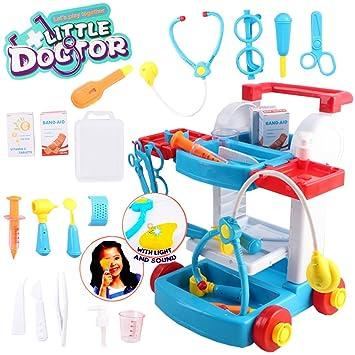 deAO Mi Pequeño Doctor Playset Centro Médico Portatil Maletín a Ruedas Juego de Imitación Incluye Accesorios