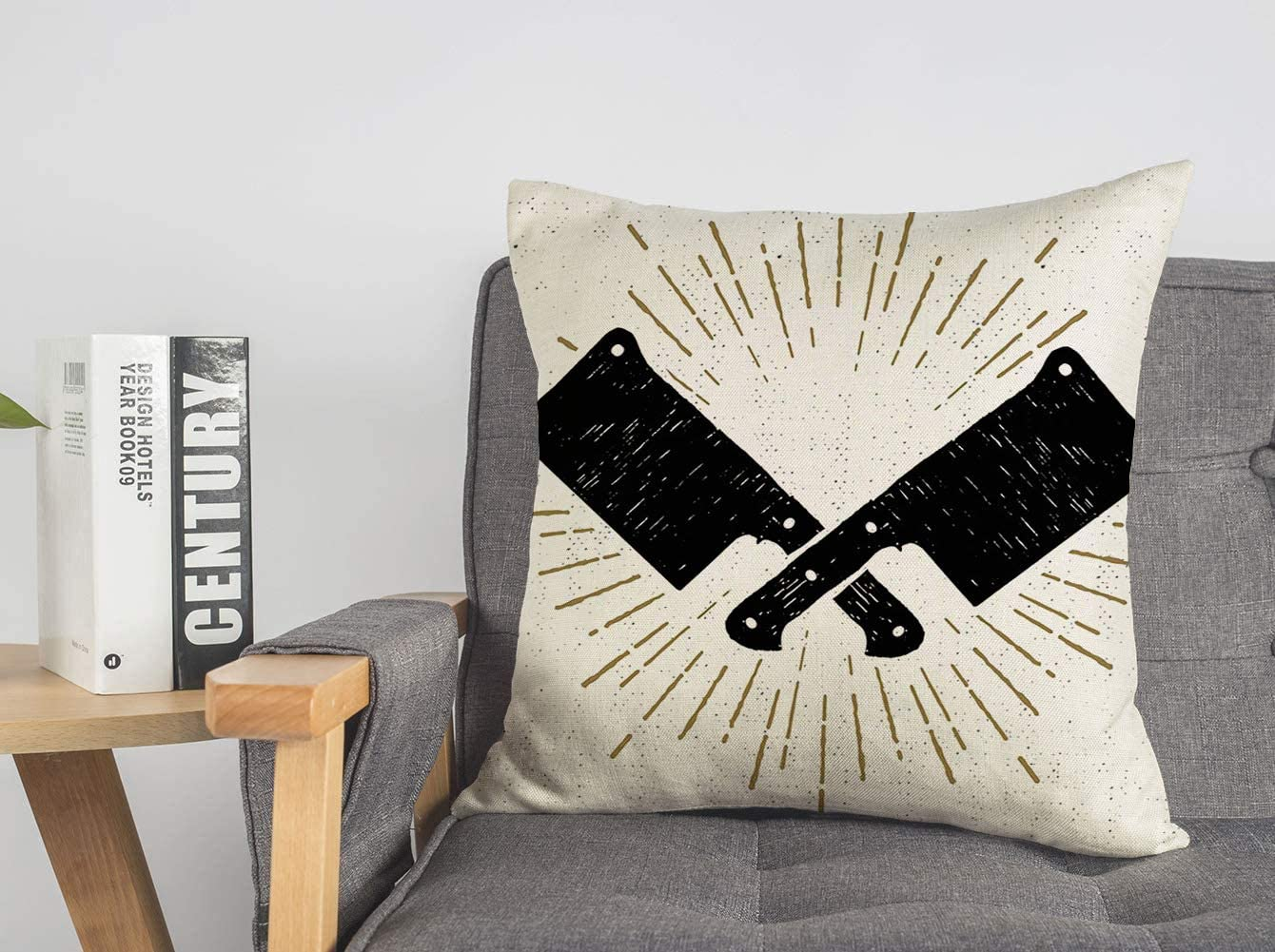 Pillowcase Cushion Case Starburst Hand with Drawn Sign Silhouette Textured Cleaver Knifes Food Drink Tool Objects Blade Cozy Linen Square Decorative Throw Pillow Covers for Couch Bed 18x18 Inch