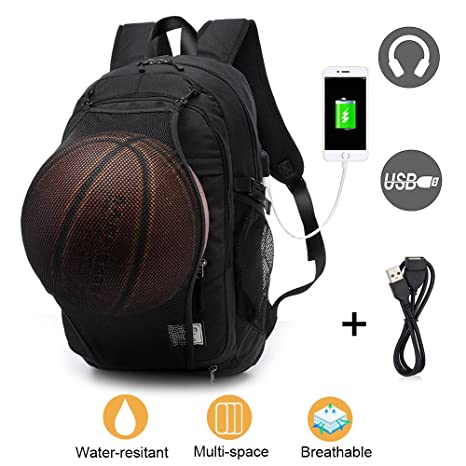 0f270e579772 Laptop Backpack for Men Boys, Lightweight Water Resistant College  Basketball Backpack with USB Charging Port and Headphone Port, Sports  Computer Bag ...