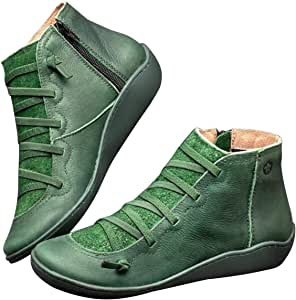 Women's Fashion Winter Martin Boots Retro Vintage Ankle Boots Thicken Velvet Female Shoes PU Inner Side Zipper - Green 38