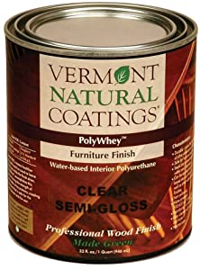 Vermont Natural Coatings Poly Whey Furniture Finish, Clear Satin Finish, 1 Quart