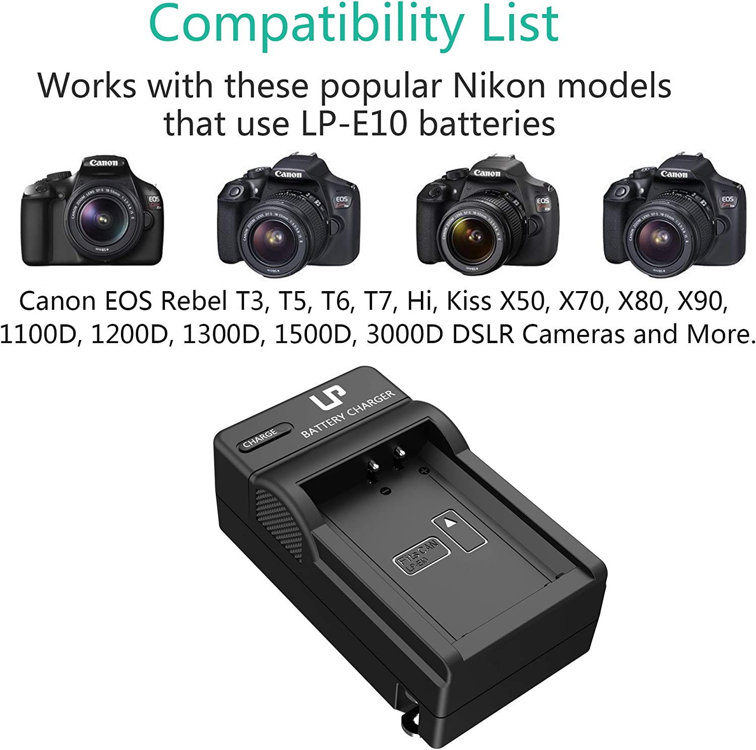 T6 EOS 1300D T5 LC-E10 Charger Compatible with Canon EOS Rebel T3 EOS 1100D,EOS 1200D