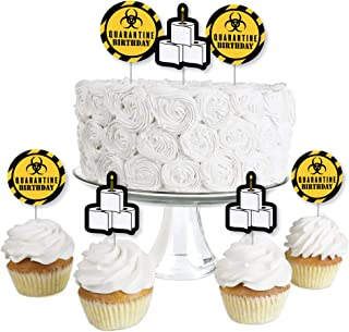 product image for Big Dot of Happiness Happy Quarantine Birthday - Dessert Cupcake Toppers - Social Distancing Party Clear Treat Picks - Set of 24