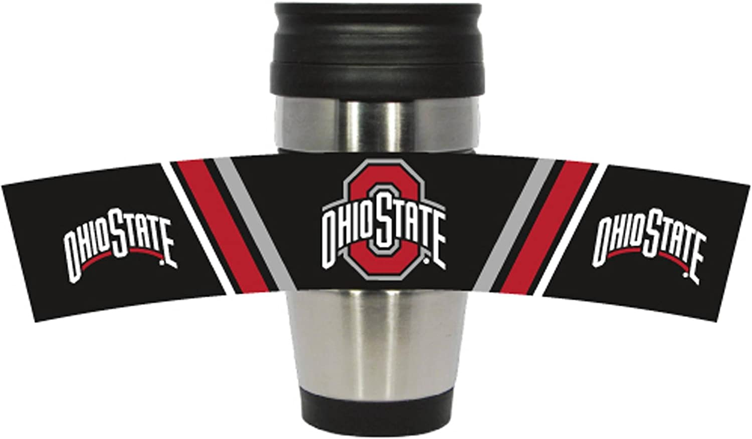 NCAA 15 oz Stainless Steel Travel Mug Tumbler with Team Color PVC Wrap
