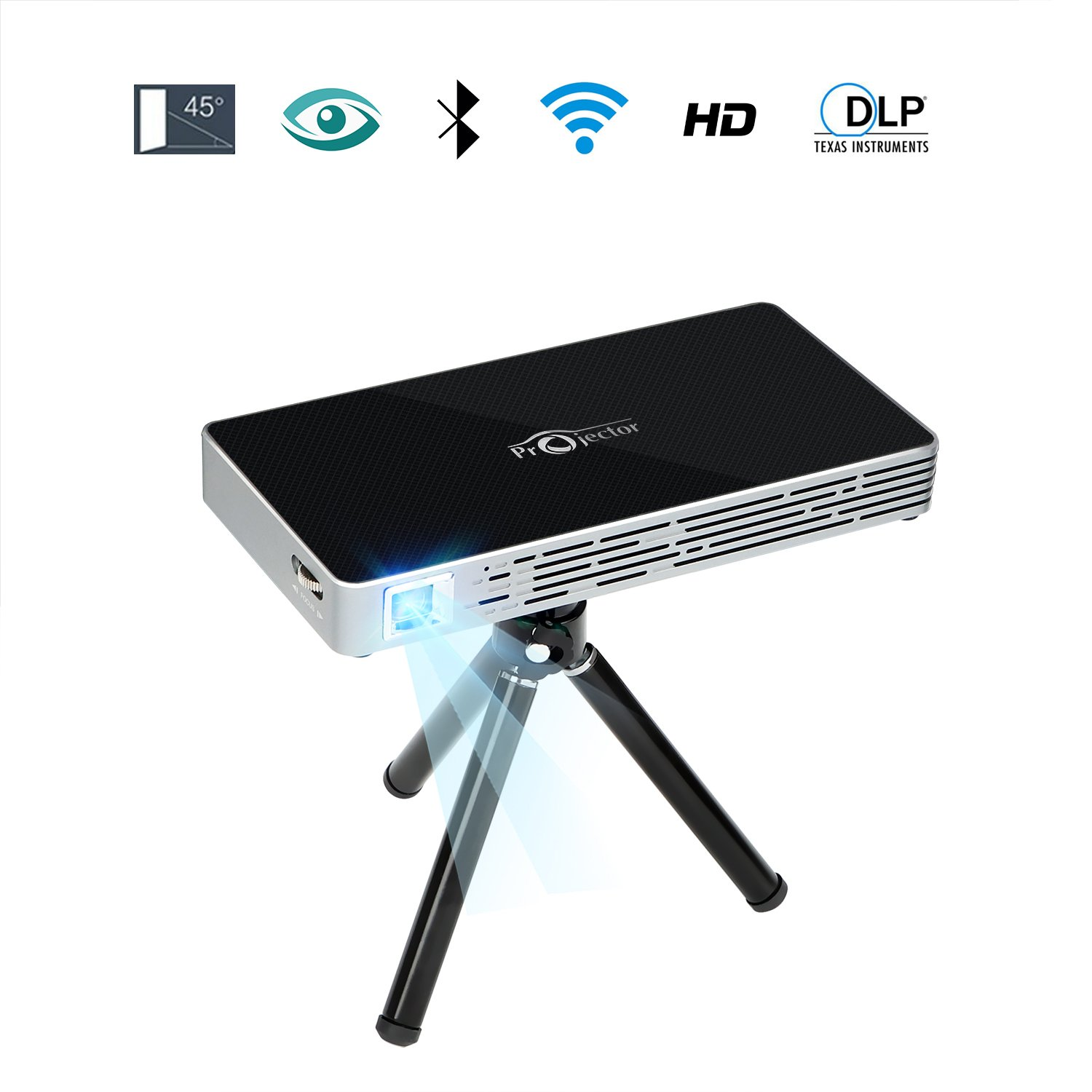 NOPNOG Pico Projector Mini Video Projector with Tripod Remote Control Support Wifi HD 1080P Bluetooth Micro SD Card Max 120'' Display by NOPNOG