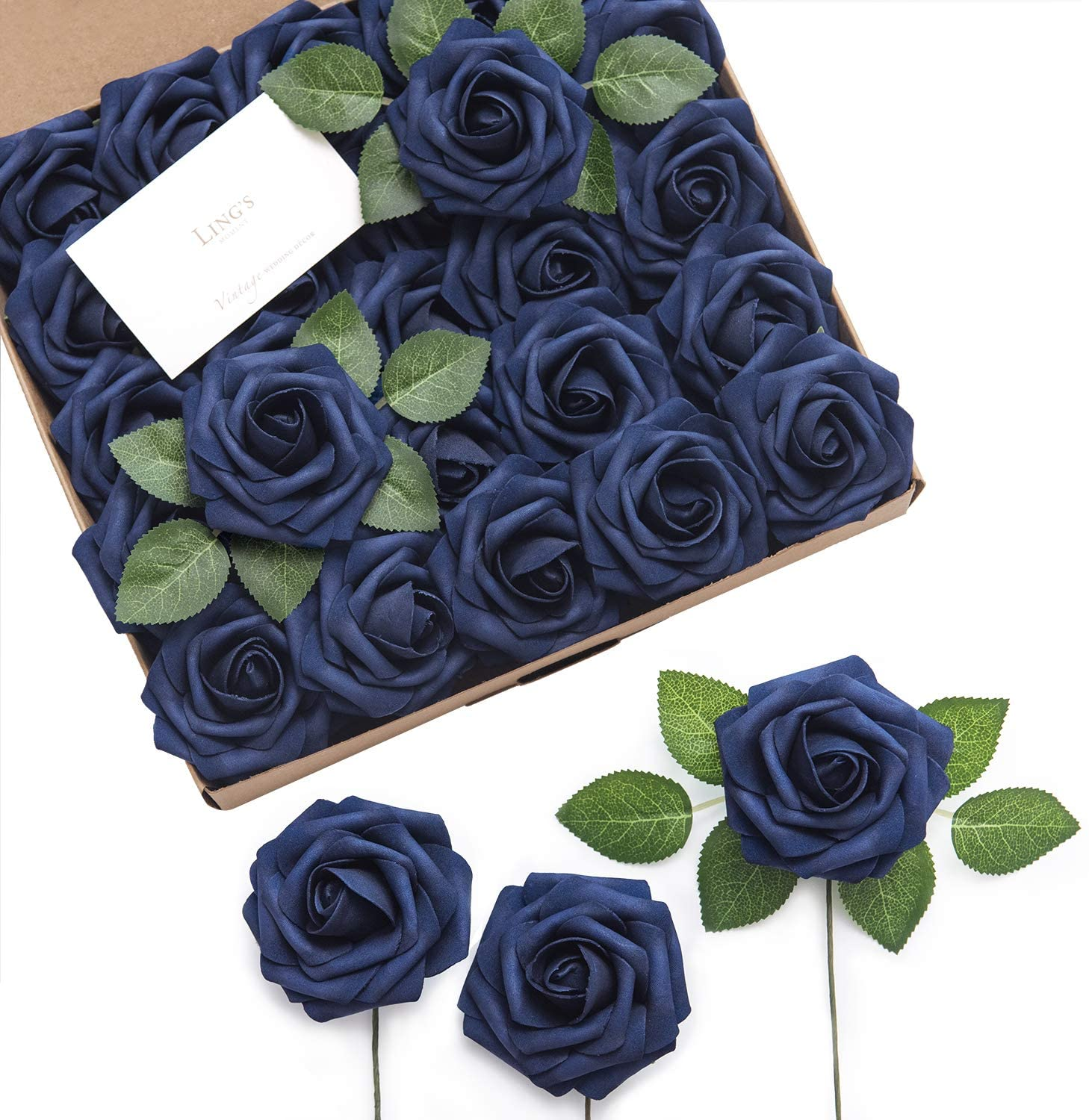 "Ling's moment Rose Artificial Flowers 25pcs Realistic Fake Roses w/Stem for DIY Wedding Bouquets Centerpieces Bridal Shower Party Home Decorations (Navy Blue, 25pcs Regular 3"")"