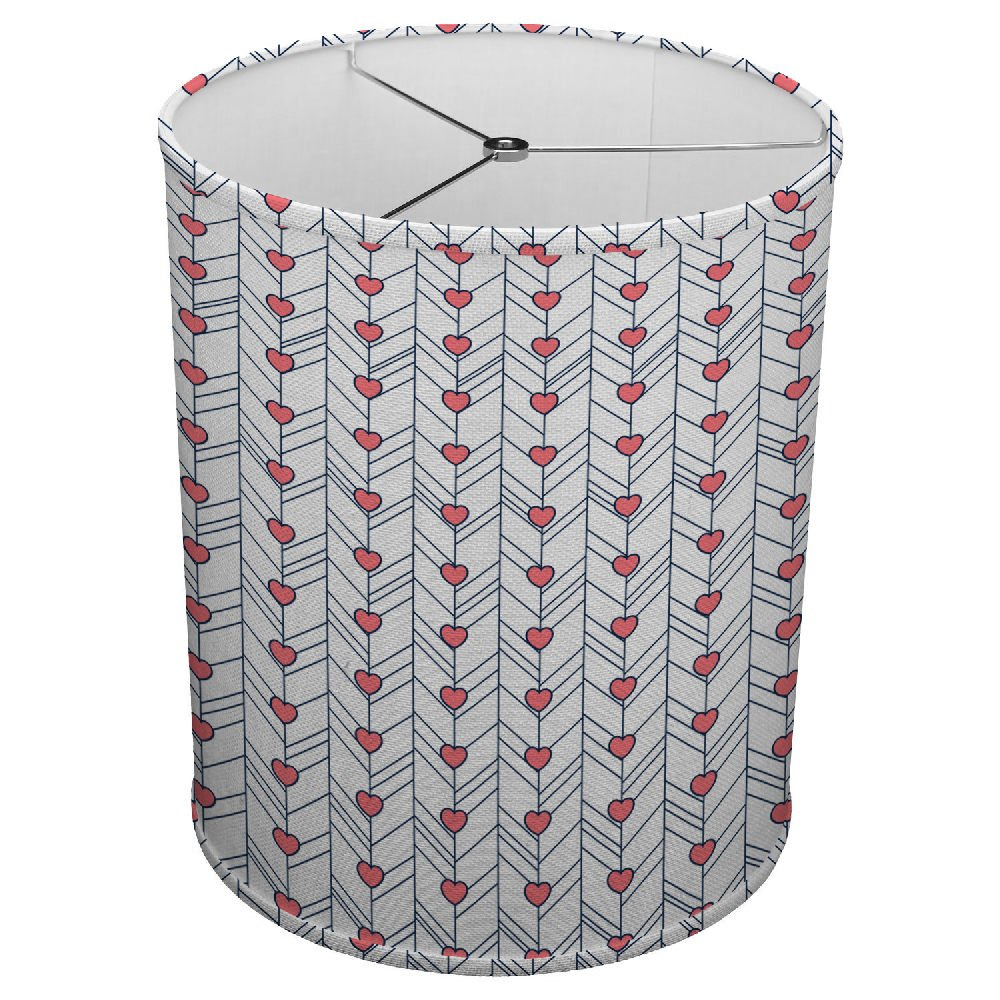 Hardback Linen Drum Cylinder Lamp Shade 8'' x 8'' x 8'' Spider Construction [ Heart Love Lines ]