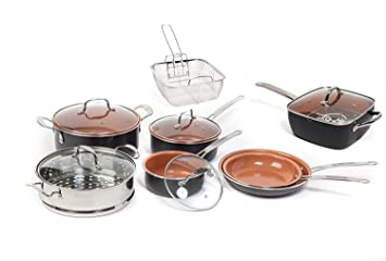 Cobre titanio 15 piezas cobre cacerola paquete y juego de ollas con tapa de cristal, antiadherente sartenes ...